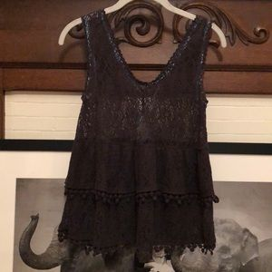 Free People Lace Tiered Boho Navy Festival Tank